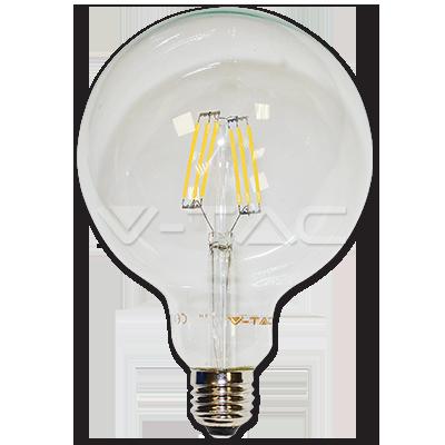 Bec LED - 6W filament E27 G125 Alb cald