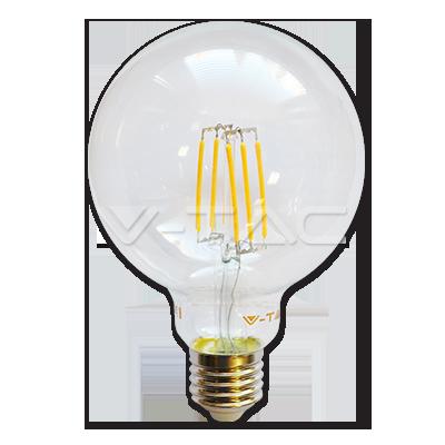 Bec LED - 6W filament E27 G95 Alb cald